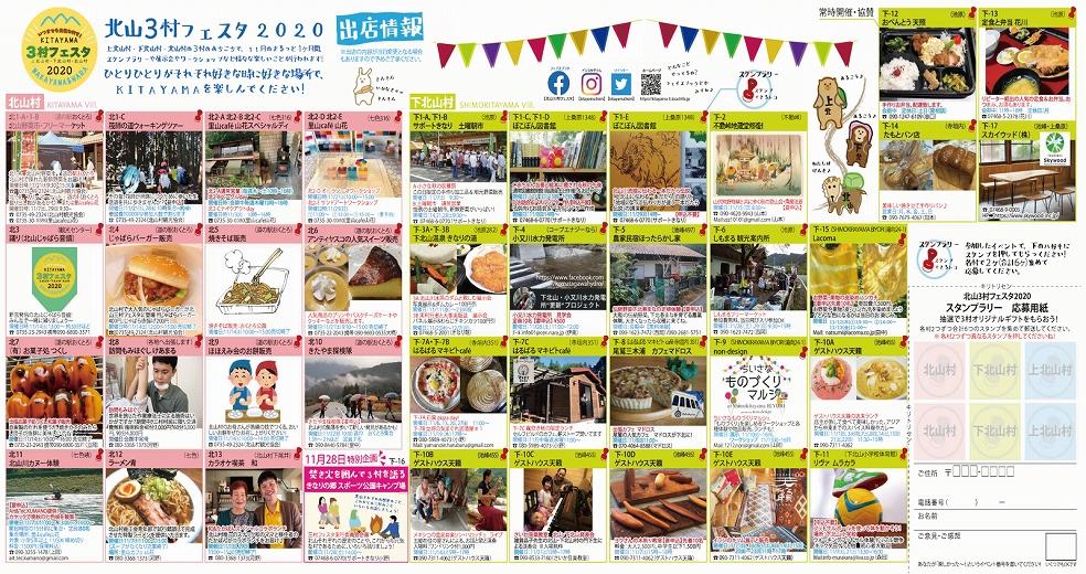 北山三村フェスタ2020のパンフレットです。